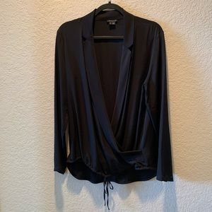 Theory, 100% silk, black faux wrap blouse, size L